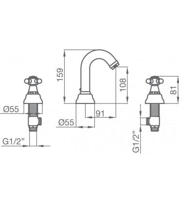 Batterie trois trous pour lavabo 1866