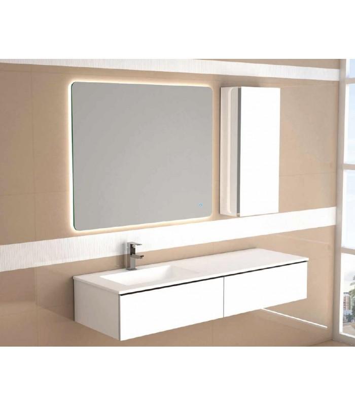 Meuble suspendu salle de bain duo 140 coycama pour sanitaires - Meuble salle de bain aubergine ...