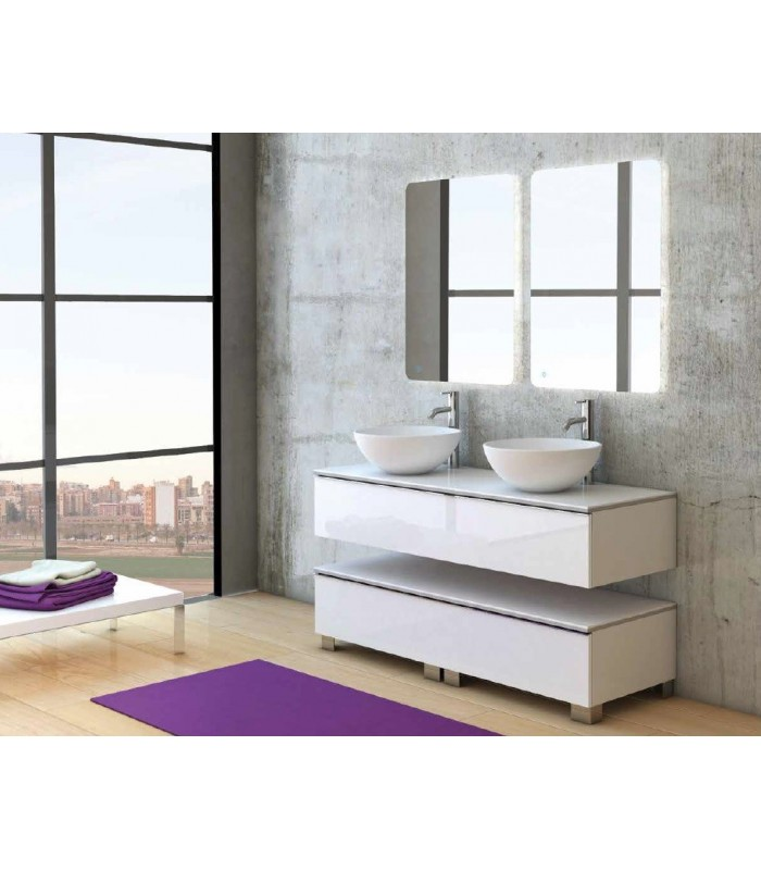 meuble suspendu salle de bain duo 140 coycama pour sanitaires. Black Bedroom Furniture Sets. Home Design Ideas