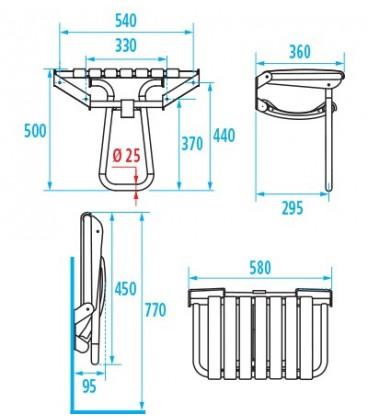 Siège de douche escamotable extra-large PELLET