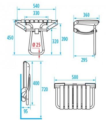 Siège de douche escamodable extra-large PELLET