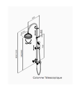 Douche mélangeur avec colonne télescopique classique finiton noir