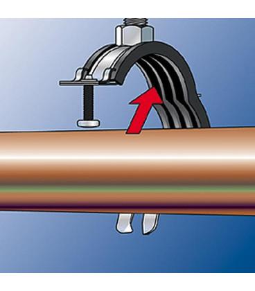 """Collier d attache pour tuyaux articules FGRS Plus 1/4"""", M8/M10, zingué Plage de serrage 12 - 14 mm"""