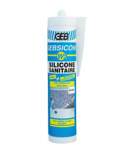 Mastic silicone Gebsicone W2 neutre pour joints appareils sanitaires cartouche 310 ml - blanc