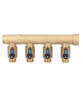 """Répartiteur 5 groupes male/fem DN20(3/4"""") avec robinet male DN15(1/2"""")"""