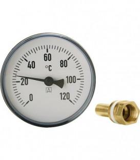 Thermomètre à cadran avec système de mesure bimétallique 0-120°C d 100mm avec sonde 150mm