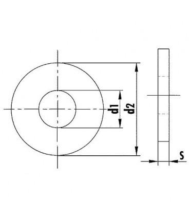 Rondelle DIN 9021 diam. 15 mm, zingue UE 100 pcs