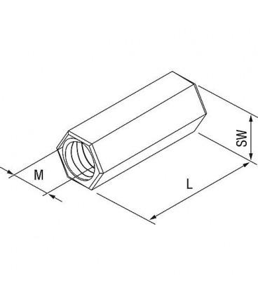 Manchon d´extension VM M8 en inox A4 L 30 mm