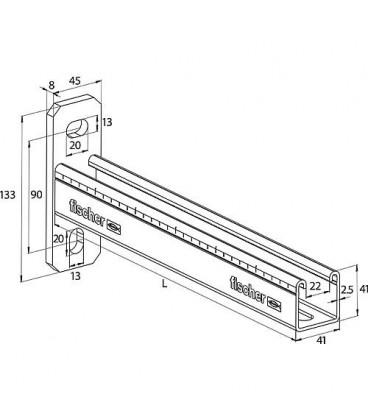 Console FCA en inox A4 pour profilé 41 L 450 mm