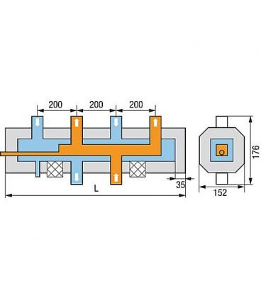 """Distributeur de chaudière WS HVM-3 3 groupes chauffants 1 1/4""""incl. Raccord à la chaudière isolE 1 1/2"""" """""""