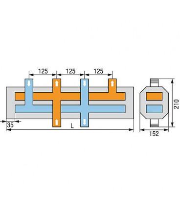 """Distributeur de chaudière WS type HVI-4 4 groupes chauffants 1""""incl. Isolation thermique sEparée"""