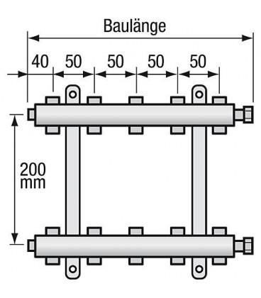 "Repartiteur de chauffage Strawa Type e-class 5506 6groupes ecrou chapeau 1"""
