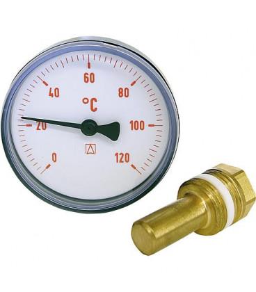Thermometre a aiguilles bimetal 0-120°C diam 63 mm, corps en plastique rouge (sans robinet)
