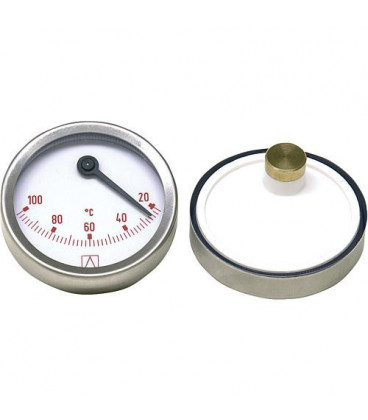 Thermometre bimetal a aiguille D 63mm excentrique, 0-100°C, bleu