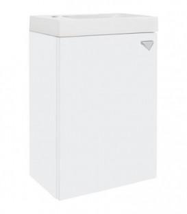 meuble sous-vasque ELYP + une porte + vasque fonte mineral,butée gauche blanc brillant, 400x609x220mm