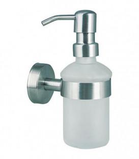 Distributeur de savon serie Axial verre satiné,inox mat avec fixation