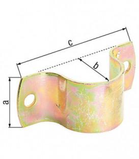 """Collier pour tube pour diam. 42,4mm et 1 2/3"""", 20 mm de large, jaune galva"""