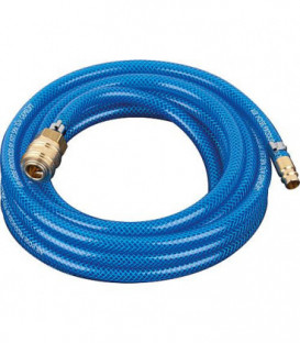 Flexible pneumatique avec raccords (Accouplement et douille a enficher) L : 10 m/9x13mm/15 bars, bleu