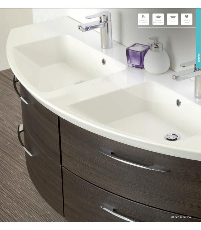 Meuble suspendu salle de bain double vasque cassca 153 for Meuble double vasque salle de bain suspendu