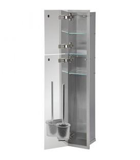 Niche murale WC, 2 portes noires verre, 1 casier derouleur + 2 casiers lxH 180x975 mm, ouverture droite