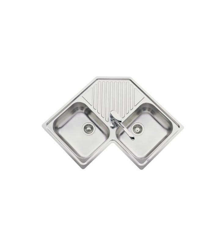 evier d 39 angle inox avec 2 bacs js pour votre cuisine. Black Bedroom Furniture Sets. Home Design Ideas