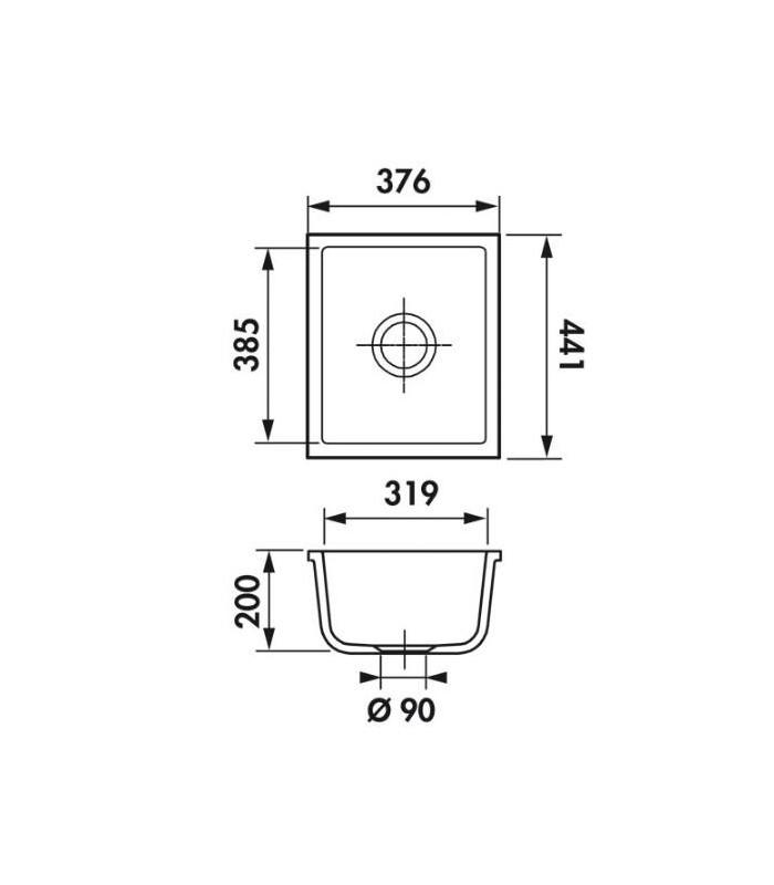 Cuve sous plan rectangulaire verona 37 js pour votre cuisine - Plan cuisine rectangulaire ...